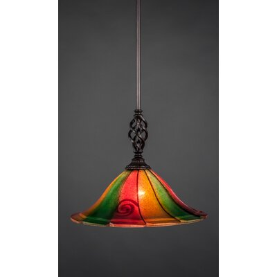 Weathers Mini Pendant With Hang Straight Swivel Shade Color: Mardi Grass Glass, Size: 14 W