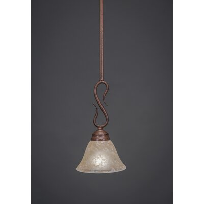 Swan 1-Light Mini Pendant Finish: Bronze, Shade Color: Amber Crystal Glass, Size: 7 W - Shade Height 12.75