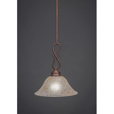 Swan 1-Light Mini Pendant Finish: Bronze, Shade Color: Gold Ice Glass, Size: 10 W