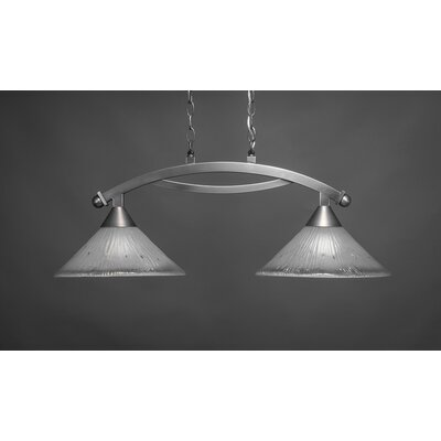 Bow 2-Light Kitchen Island Pendant Finish: Brushed Nickel, Shade Color: Frosted
