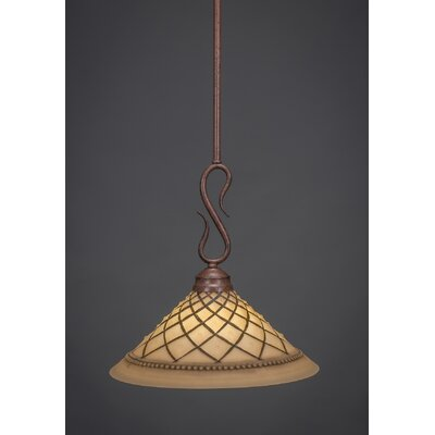 Swan 1-Light Mini Pendant Finish: Bronze, Shade Color: Chocolate Icing Glass, Size: 12 W