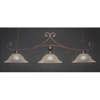 Babin 3-Light Billiard Light Color: Bronze, Shade Color: Amber