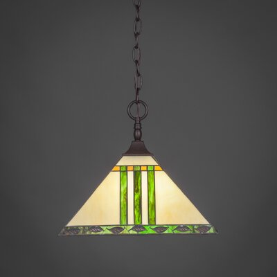 1-Light Mini Pendant Shade Color: Green, Finish: Matte Black
