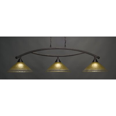 Bow 3-Light Billiard Light Shade Color: Amber, Finish: Dark Granite