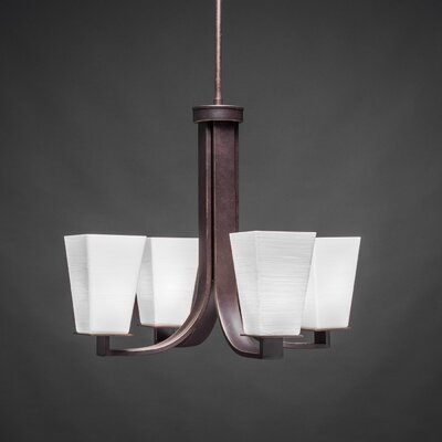 Apollo 4-Light Shaded Chandelier Shade Color: White
