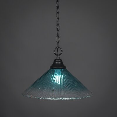 1-Light Mini Pendant Size: 10.5 H x 16 W, Shade Color: Teal