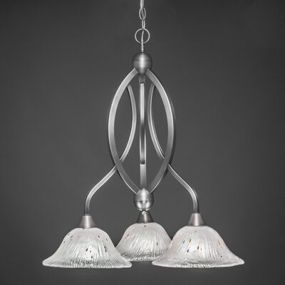 Bow 3-Light Shaded Chandelier Shade Color: Frosted, Finish: Brushed Nickel