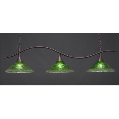Swoop 3-Light Kitchen Island Pendant Finish: Dark Granite, Shade Color: Kiwi Green