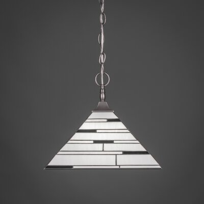 1-Light Chain Pendant Finish: Brushed Copper, Shade Color: Pearl Ebony Tiffany