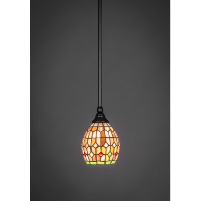1-Light Stem Mini Pendant With Hang Straight Swivel Finish: Matte Black