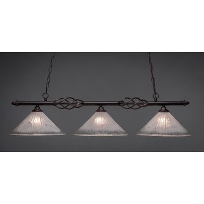 Elegante 3-Light Kitchen Island Pendant Shade Color: Frosted
