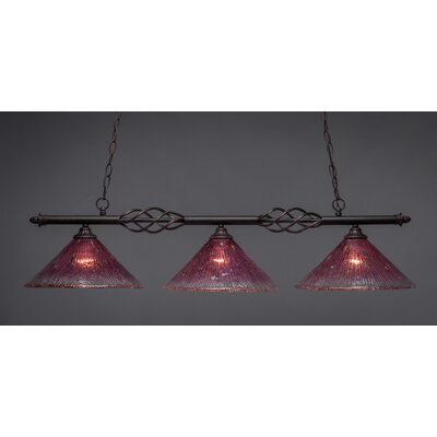 Elegante 3-Light Kitchen Island Pendant Shade Color: Wine