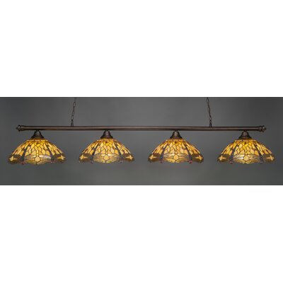 Passabe 4-Light Dragonfly Tiffany Shade Billiard Light Finish: Bronze