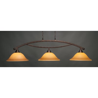 Bow 3-Light Billiard Light Shade Color: Cayenne, Finish: Bronze