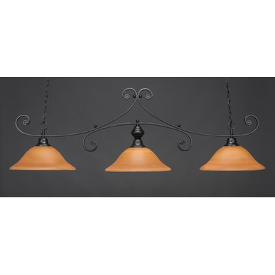 Babin 3-Light Billiard Light Color: Matte Black, Shade Color: Cayenne