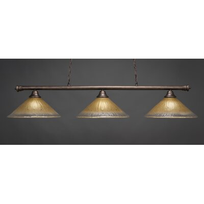 Oxford 3-Light Billiard Light Finish: Brushed Nickel, Shade Color: Amber