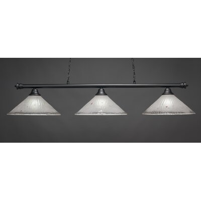Oxford 3-Light Billiard Light Finish: Matte Black, Shade Color: Frosted