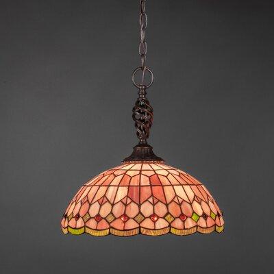 Elegant� 1-Light Pendant Shade Color: Rosetta Tiffany Glass
