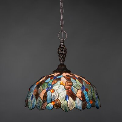 Elegant� 1-Light Pendant Shade Color: Italian Blue Mosaic Tiffany Glass