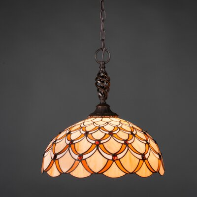 Elegant� 1-Light Pendant Shade Color: Honey and Brown Scallop Tiffany Glass