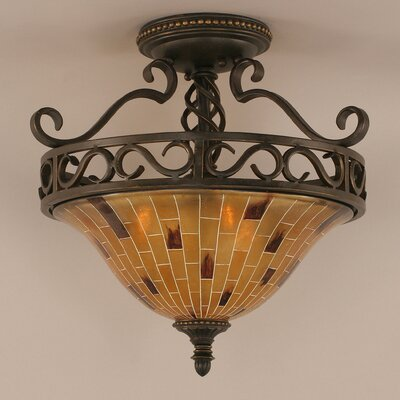 Elegant� 3 Bulb Semi Flush Mount Shade Color: Pen Shell Resin