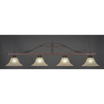 Billiard 4-Light Wrought Iron Rope Bar Pendant with Amber Marble Glass Shade Finish: Bronze
