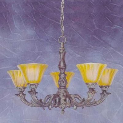 Olde Manor 5-Light Shaded Chandelier Shade: Tiger Glass
