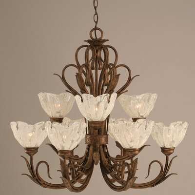 Swan 9-Light Shaded Chandelier Glass: Italian Ice