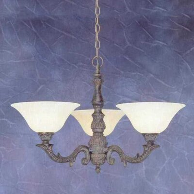 Olde Manor 3-Light Shaded Chandelier Shade: Amber Marble Glass