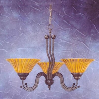 Wave 3-Light Shaded Chandelier Finish: Bronze