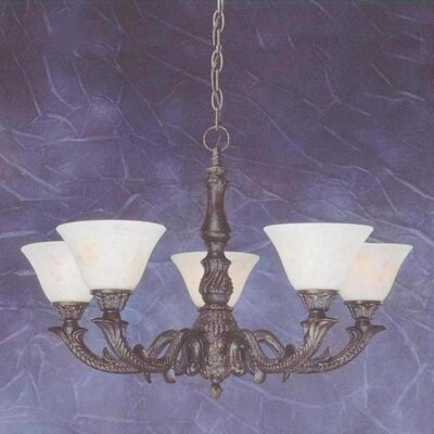 Olde Manor 5-Light Shaded Chandelier Shade: Italian Marble Glass