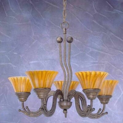 Wave 5-Light Shaded Chandelier Finish: Bronze