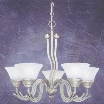 Wave 5-Light Shaded Chandelier Finish: Brushed Nickel, Shade: White Marble Glass Shade