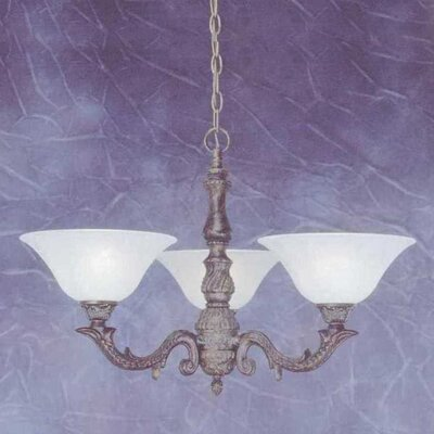 Olde Manor 3-Light Shaded Chandelier Shade: White Marble Glass