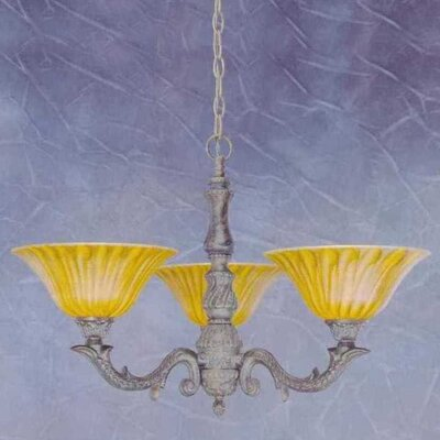 Olde Manor 3-Light Shaded Chandelier Shade: Tiger Glass