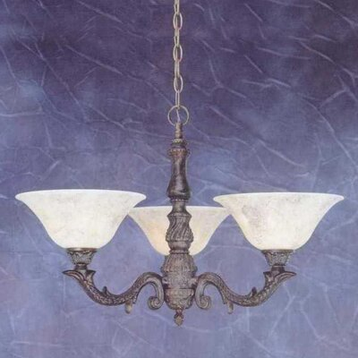 Olde Manor 3-Light Shaded Chandelier Shade: Italian Marble Glass