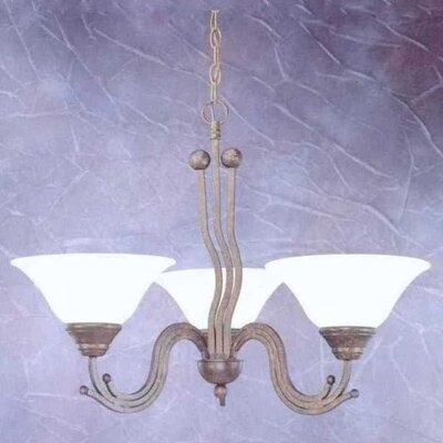 Wave 3-Light Shaded Chandelier Finish: Bronze, Shade: White Marble Glass Shade