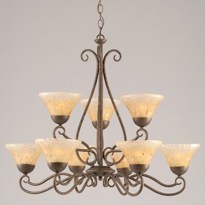 Olde Iron 9-Light Shaded Chandelier Shade: Amber Crystal Glass