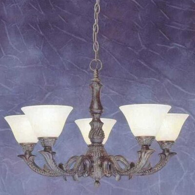 Olde Manor 5-Light Shaded Chandelier Shade: Amber Marble Glass