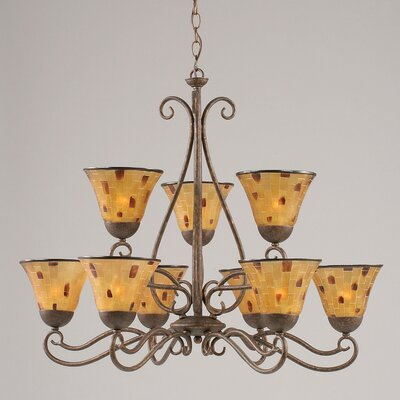 Olde Iron 9-Light Shaded Chandelier Shade: Pen Shell