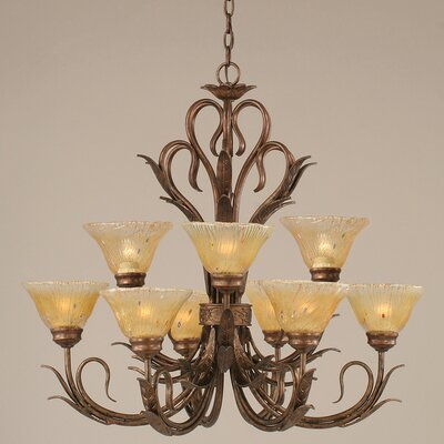 Swan 9-Light Shaded Chandelier Glass: Amber