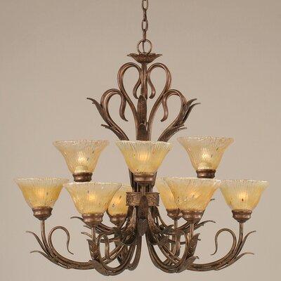 Swan 9-Light Shaded Chandelier Glass: Amber