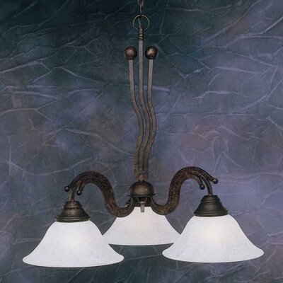 Wave 3-Light Shaded Chandelier Finish: Brushed Nickel, Shade: White Marble Glass Shade