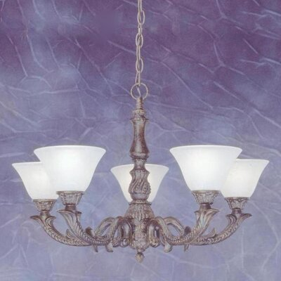 Olde Manor 5-Light Shaded Chandelier Shade: White Marble Glass