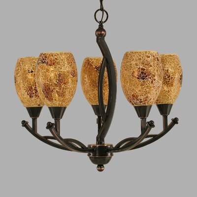 Bow 5-Light Shaded Chandelier Shade Color: Gold