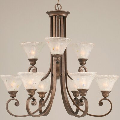 Babin 9-Light Shaded Chandelier Shade Color: Frosted