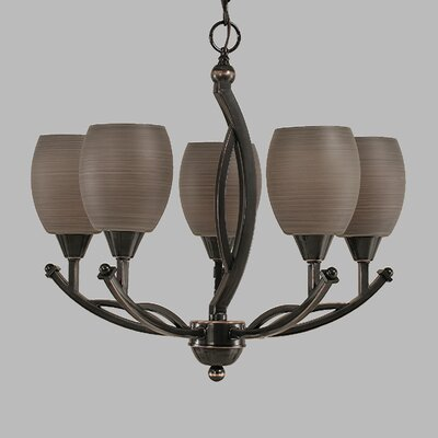 Blankenship 5-Light  Adjustable Height Shaded Chandelier Shade Color: Gray