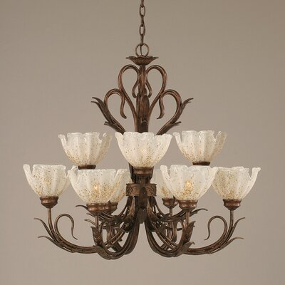 Swan 9-Light Shaded Chandelier
