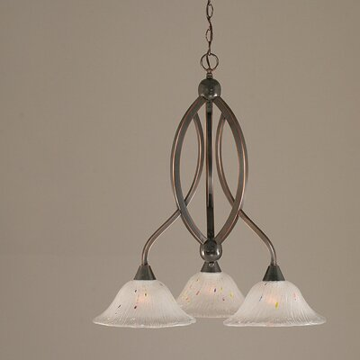Bow 3-Light Shaded Chandelier Shade Color: Raspberry, Finish: Brushed Nickel