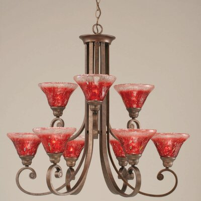 Babin 9-Light Shaded Chandelier Shade Color: Raspberry